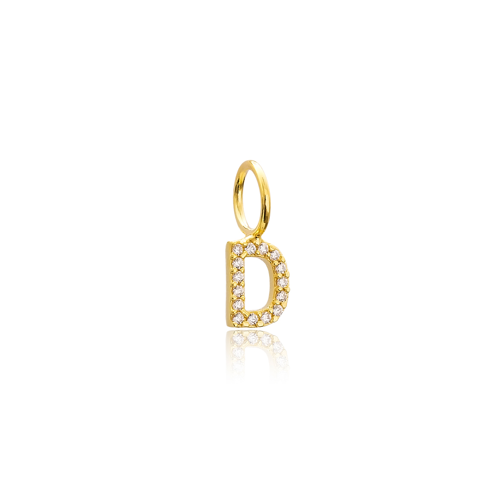 D Letter Charm Pendant Wholesale Handmade Turkish 925 Silver Sterling Jewelry