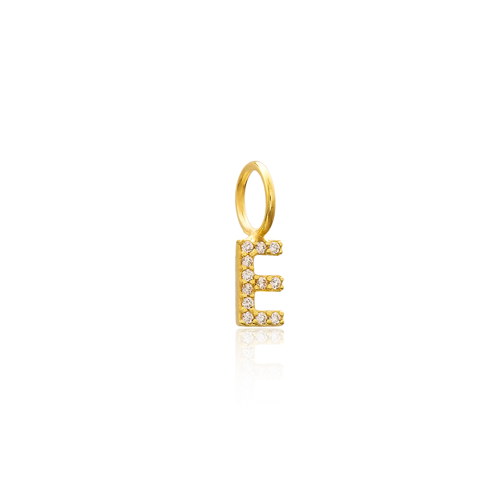 E Letter Charm Pendant Wholesale Handmade Turkish 925 Silver Sterling Jewelry