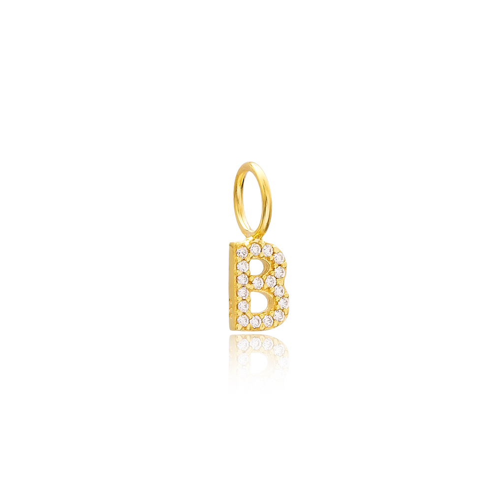 B Letter Charm Pendant Wholesale Handmade Turkish 925 Silver Sterling Jewelry