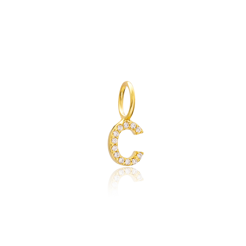 C Letter Charm Pendant Wholesale Handmade Turkish 925 Silver Sterling Jewelry