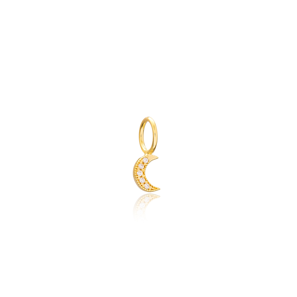 Minimalist Moon Charm Wholesale Handmade Turkish 925 Silver Sterling Jewelry