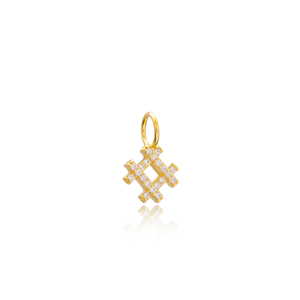 Square Charm Wholesale Handmade Turkish 925 Silver Sterling Jewelry