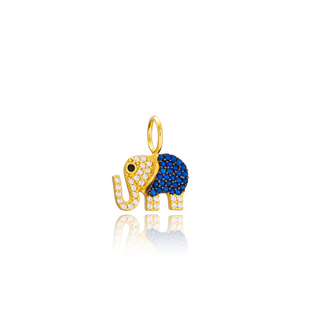 Elephant Charm Wholesale Handmade Turkish 925 Silver Sterling Jewelry With Hole Ø7 mm