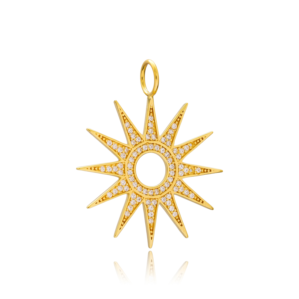 Sun Charm Wholesale Handmade Turkish 925 Silver Sterling Jewelry With Hole Ø7 mm