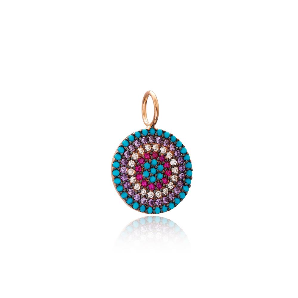 Rainbow Round Shape Charm Wholesale Handmade Turkish 925 Silver Sterling Jewelry