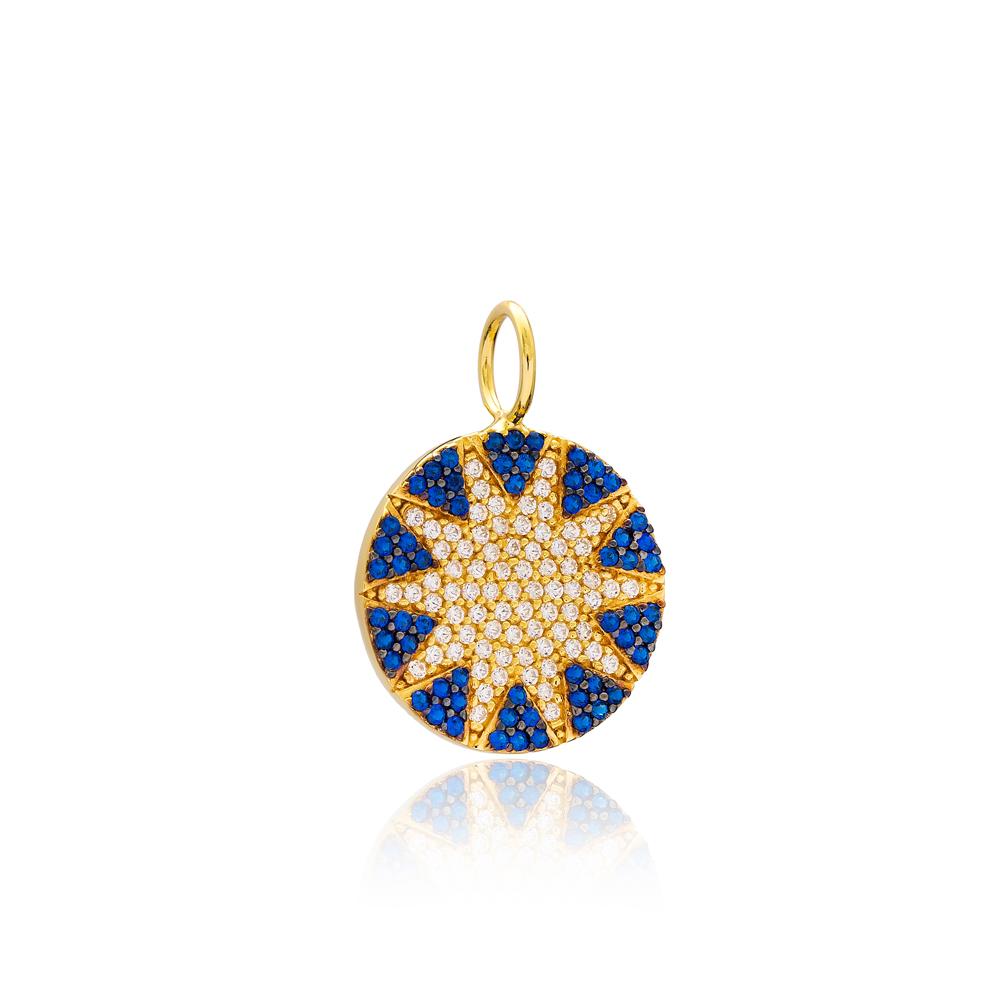 Sun Design Round Shape Charm Wholesale Handmade Turkish 925 Silver Sterling Jewelry