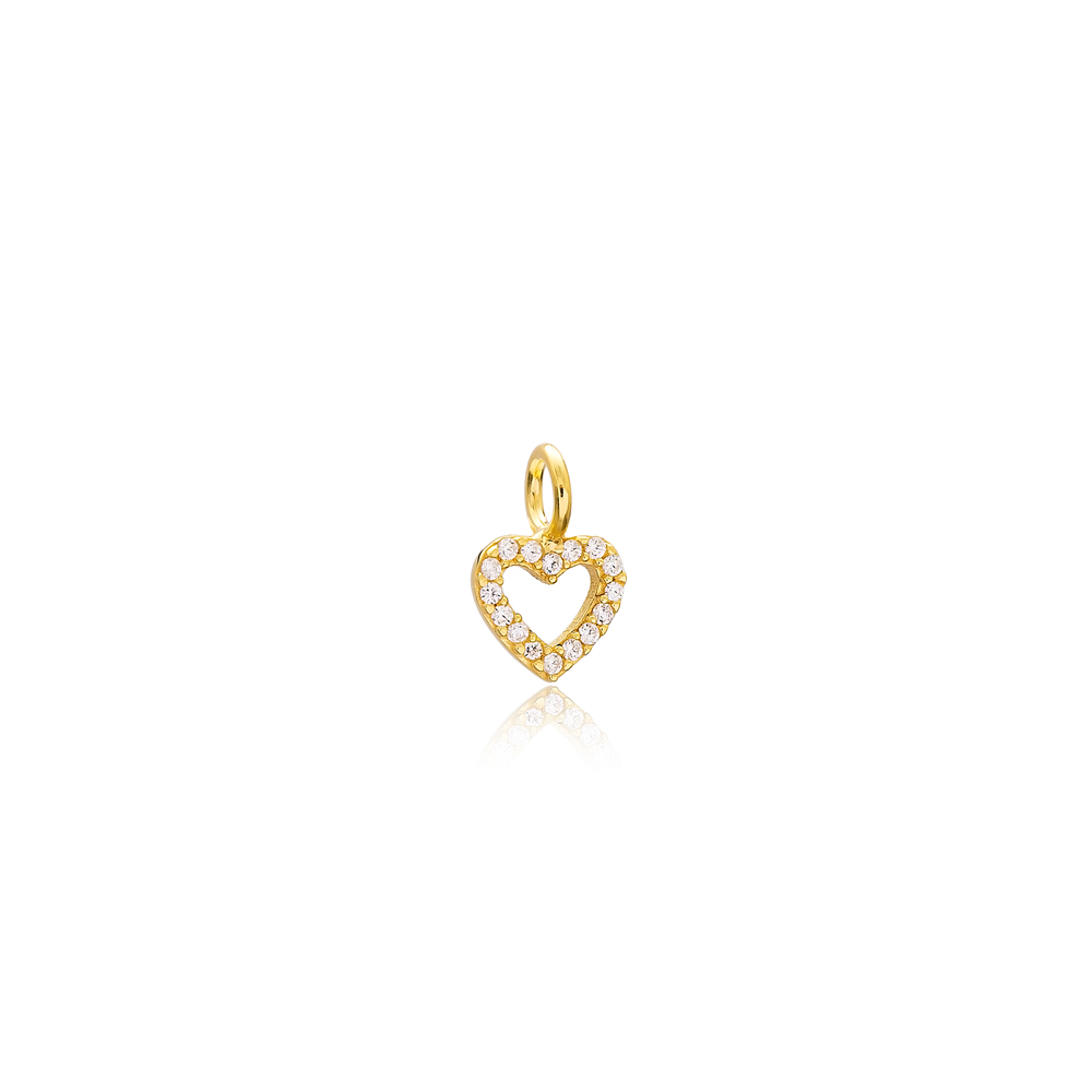 Heart Charm Wholesale Handmade Turkish 925 Silver Sterling Jewelry With Hole Ø5 mm