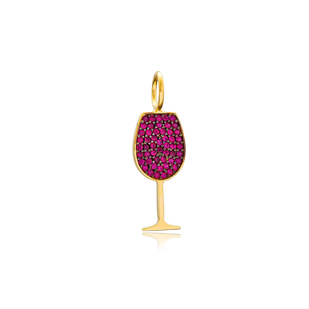 Wine Glass Design Charm Wholesale Handmade Turkish 925 Silver Sterling Jewelry