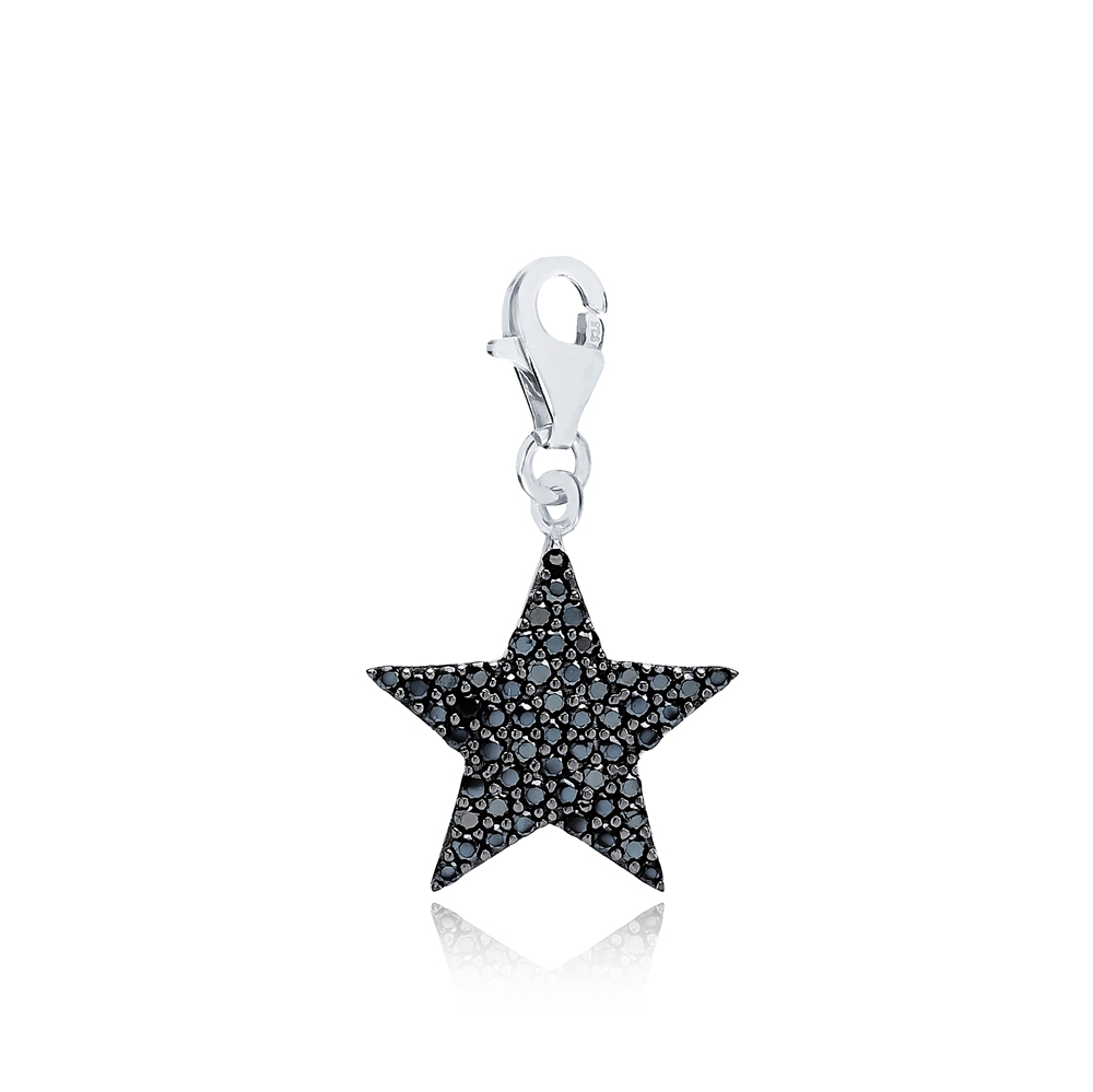 Star With Black Zircon Design Charm Wholesale Handmade Turkish 925 Silver Sterling Jewelry