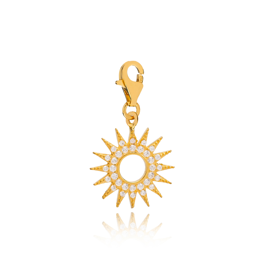 Hollow Sun Shape Charm Wholesale Handmade Turkish 925 Silver Sterling Jewelry