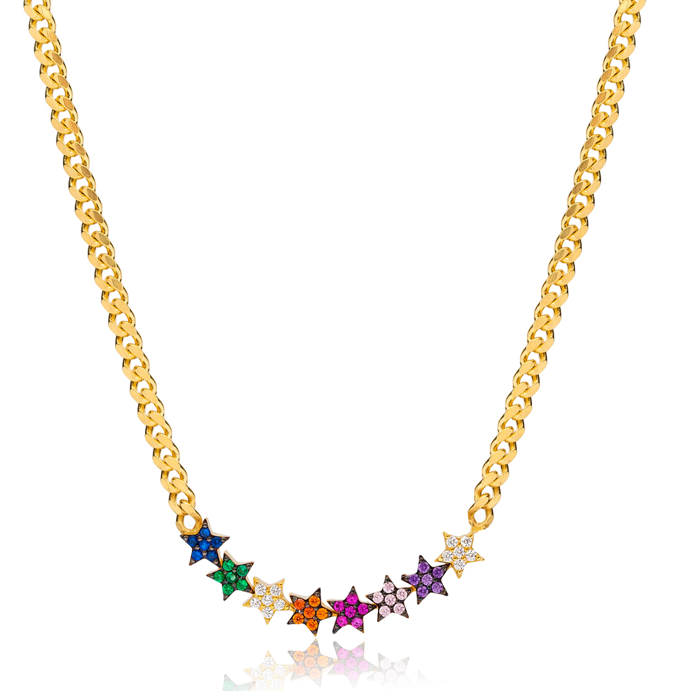 Mix Stone Star Design Necklace Wholesale Handcraft 925 Sterling Silver Jewelry