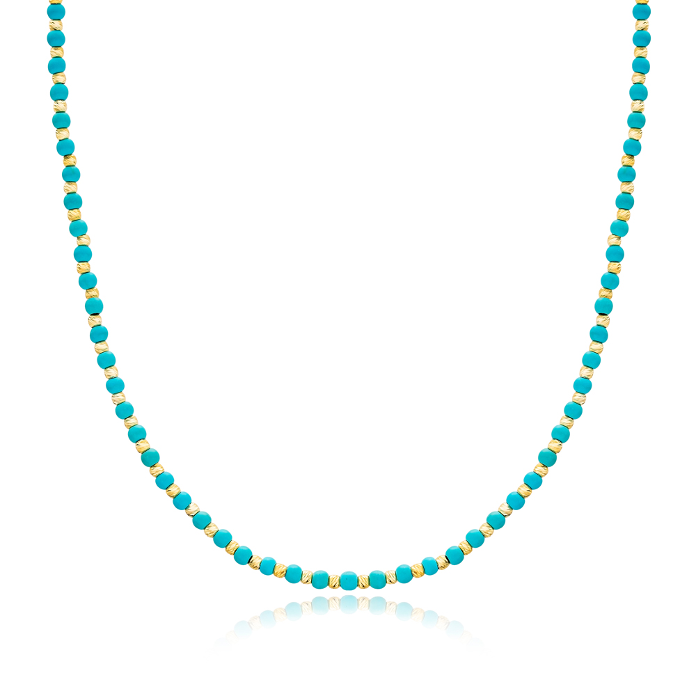 Turquoise Stone Turkish Wholesale Handmade 925 Sterling Silver Choker Necklace