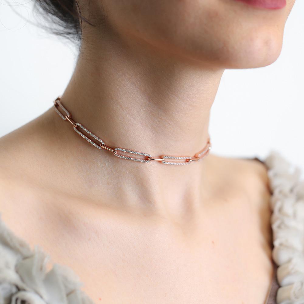 Dainty Zircon Stone Chain Pendant Turkish Handmade 925 Sterling Silver Jewelry