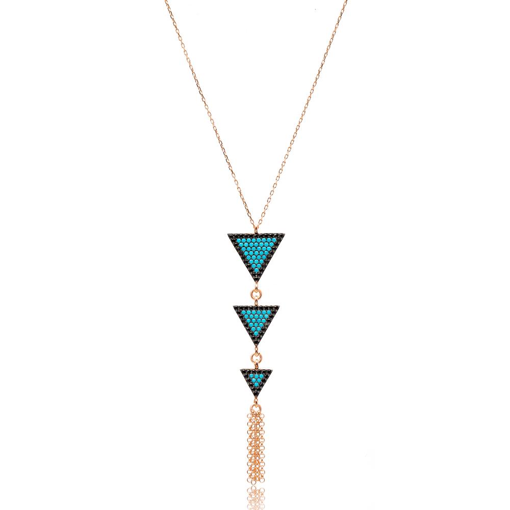 Nano Turquoise Triangle Turkish Wholesale Sterling Handmade Silver Pendant