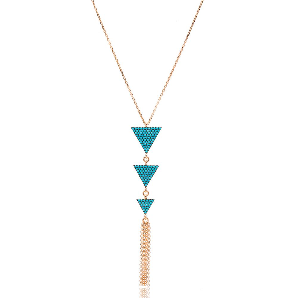 Triangle Nano Turquoise Turkish Wholesale Sterling Handmade Silver Pendant