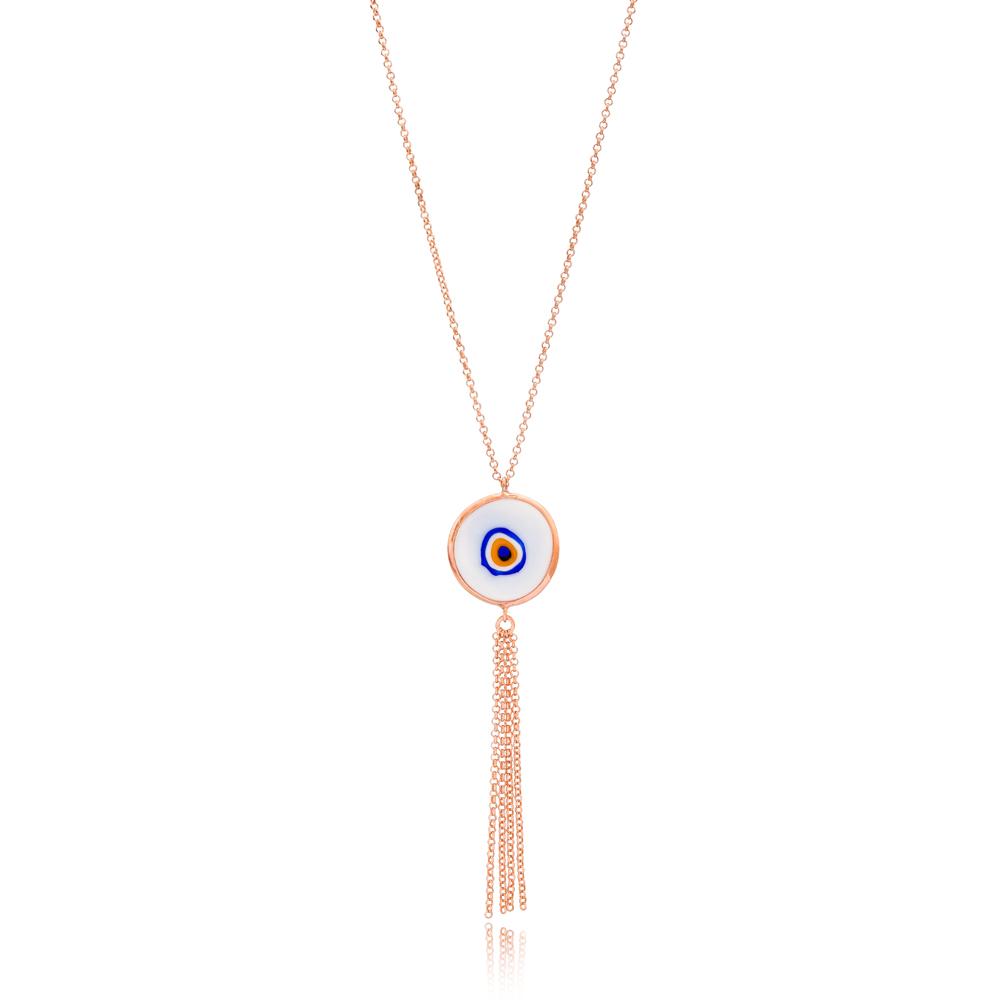 Enamel Evil Eye Tassel Pendant Wholesale 925 Sterling Silver Jewelry