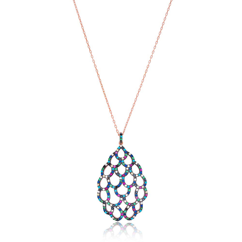 Mix Stone Pattern Design Pendant Turkish Wholesale 925 Sterling Silver Handcrafted Jewellery