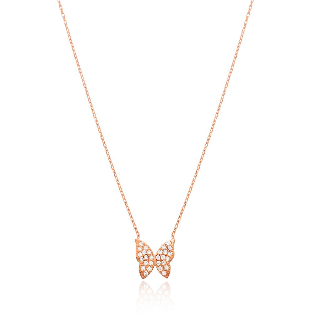 Butterfly Design CZ Stone Turkish Handmade 925 Sterling Silver Jewelry Jewelry Pendant