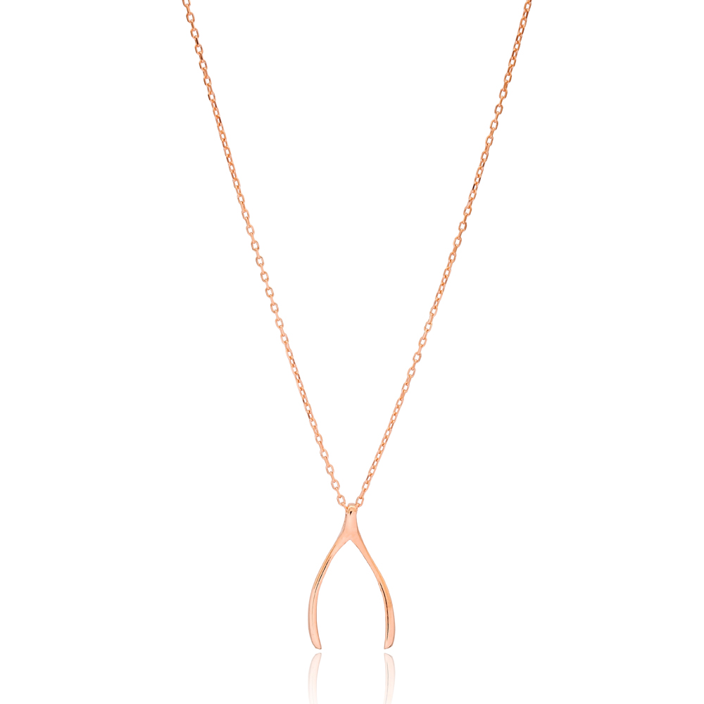 Wishbone Design Plain Pendant Turkish Wholesale Handcrafted 925 Silver Jewelry