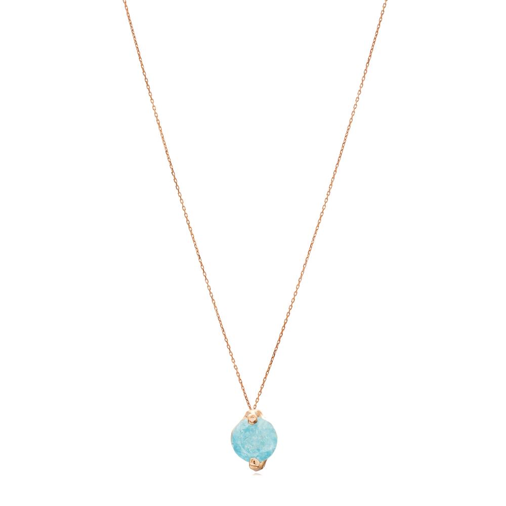 Solitaire Design Aquaömarine Pendant Wholesale Turkish Sterling Silver Necklace