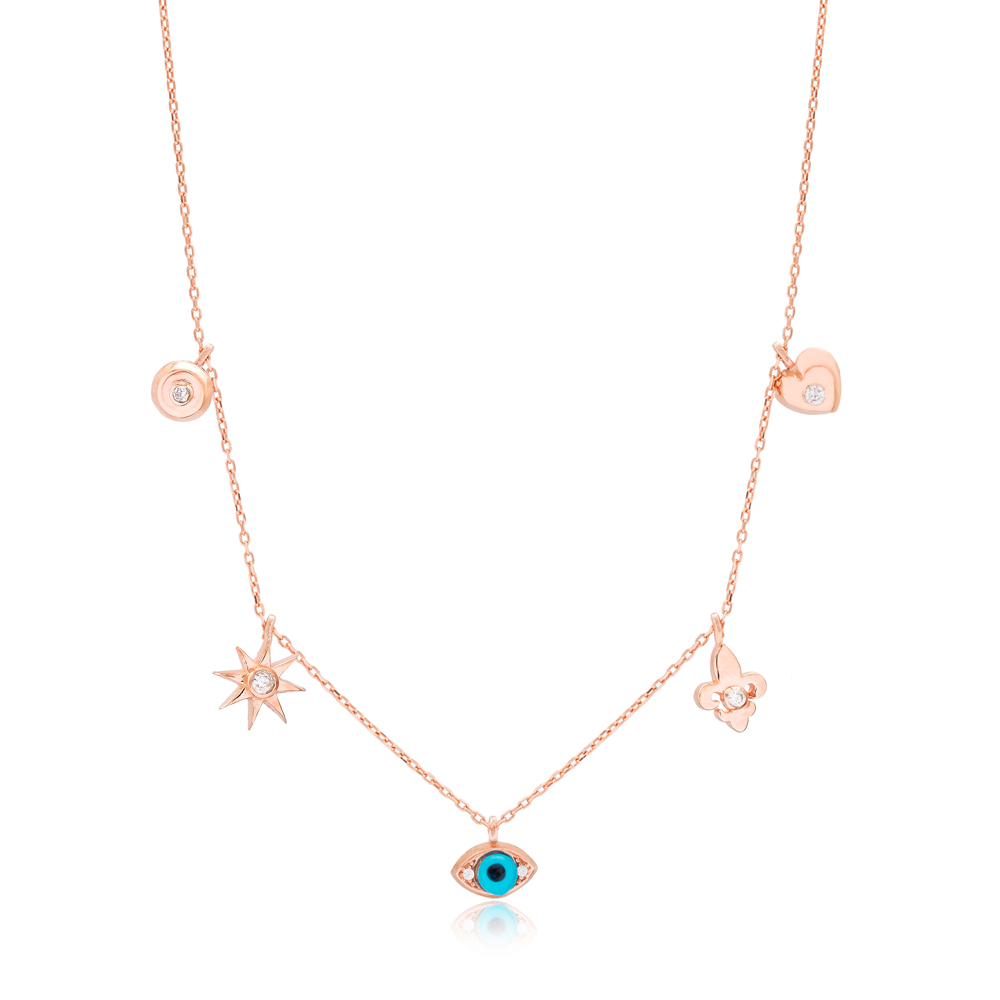 Minimalist Shaker Heart Lily Flower Evil Eye Pendant Turkish Wholesale 925 Sterling Silver Jewelry