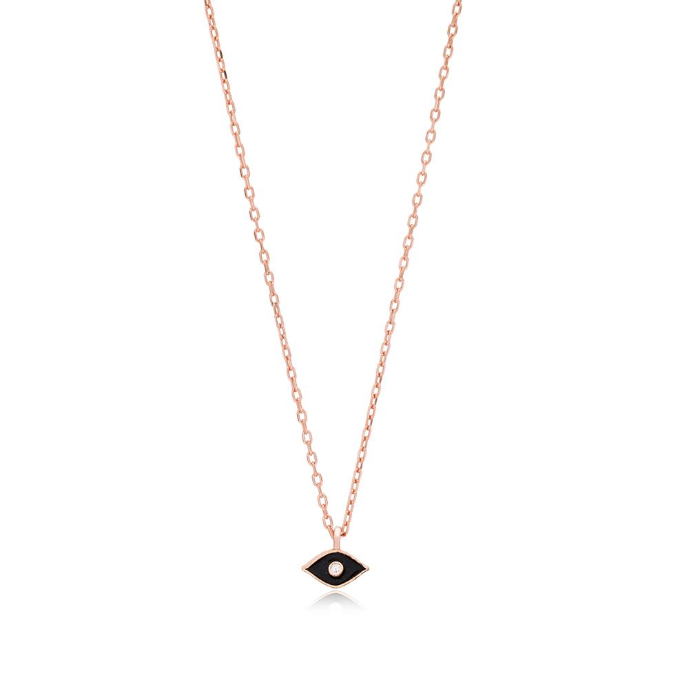 Black Enamel Minimalist Design Turkish Wholesale 925 Sterling Silver Necklace Pendant