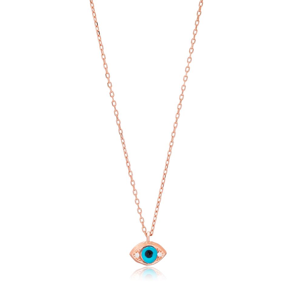 Turkish Evil Eye Design Minimalist Necklace Wholesale Sterling Silver Jewelry