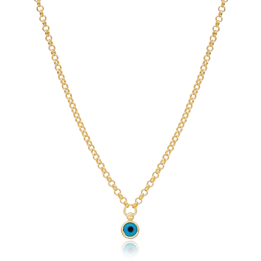 Trendy Silver Evil Eye Design Silver Necklace Wholesale Turkish 925 Silver Sterling Jewelry