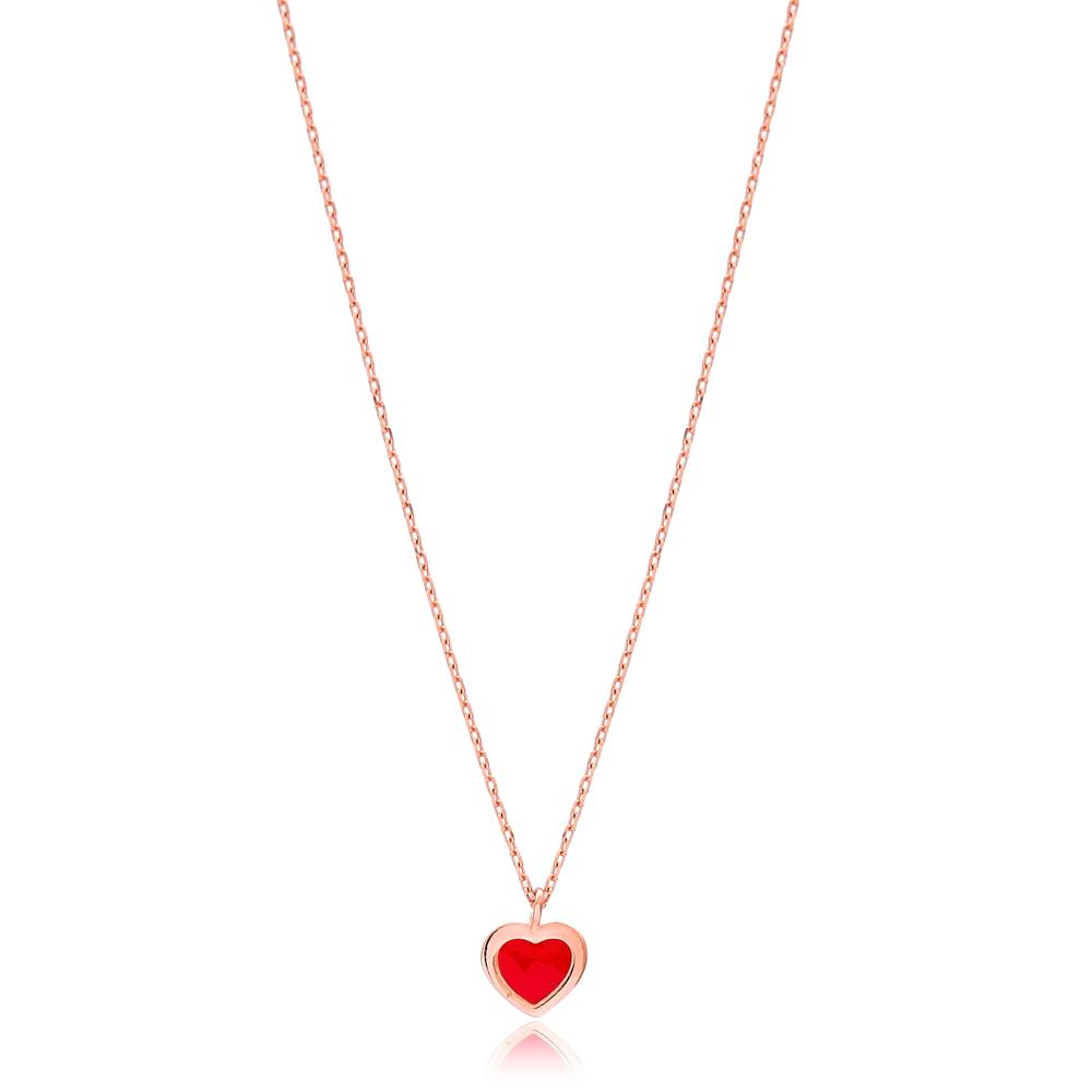 Heart Design Red Enamel Pendant Wholesale Turkish Sterling Silver Necklace