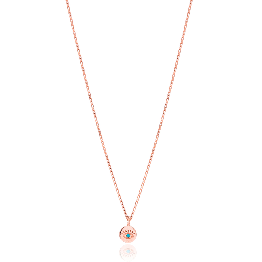 Minimal Round Evil Eye Necklace Turkish Wholesale Sterling Silver Jewelry