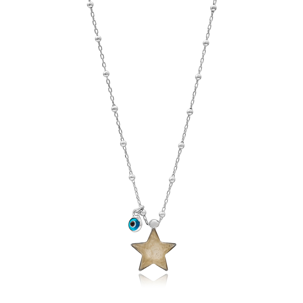 Star Design Mother of Pearl Pendant with Evil Eye 925 Sterling Silver Jewelry