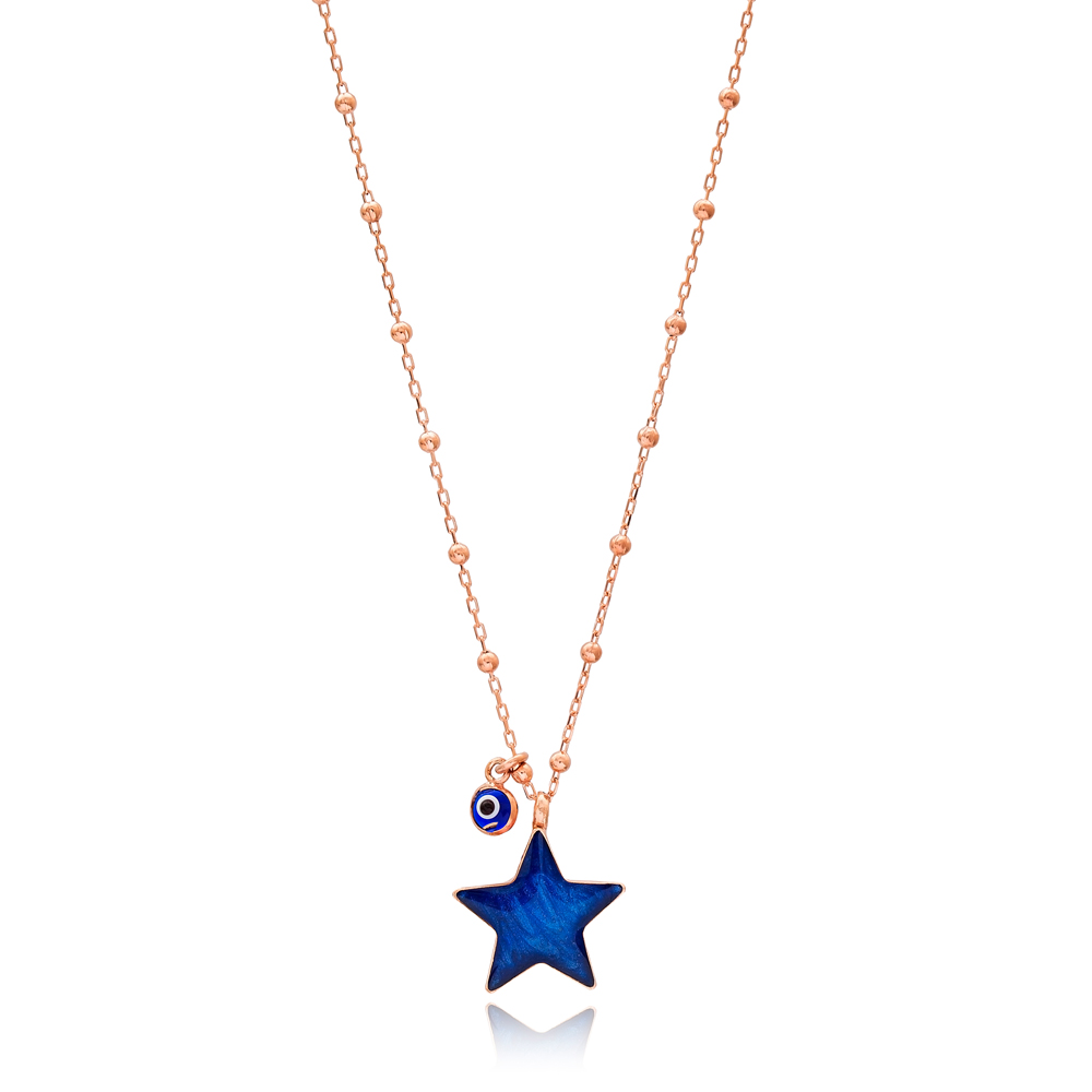 Star Design Enamel Mother of Pearl Pendant with Minimal Evil Eye 925 Sterling Silver Jewelry