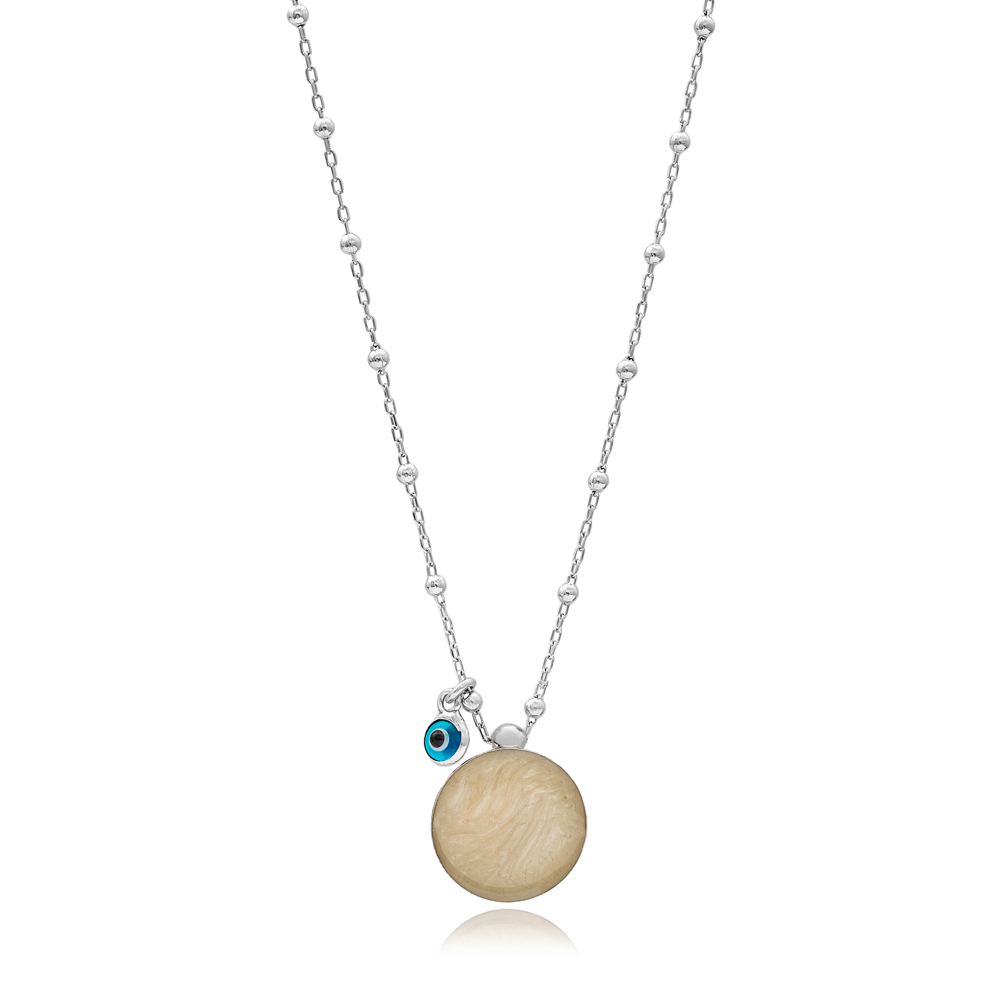 Mother of Pearl Round Design Necklace with Evil Eye 925 Sterling Silver Jewelry