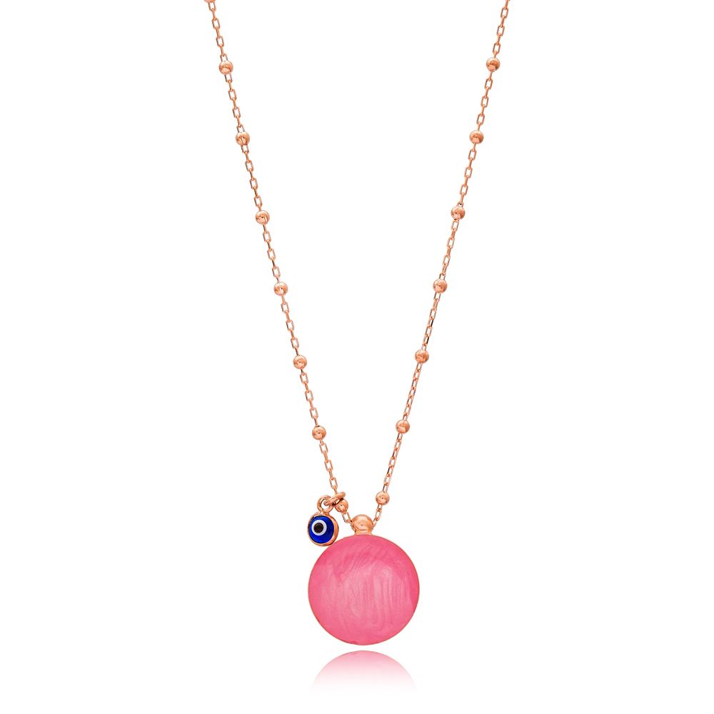Mother of Pearl Pink Enamel Round Design Necklace with Evil Eye 925 Sterling Silver Jewelry
