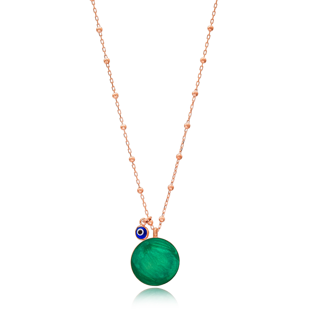 Mother of Pearl Green Enamel Round Design Necklace with Evil Eye 925 Sterling Silver Jewelry