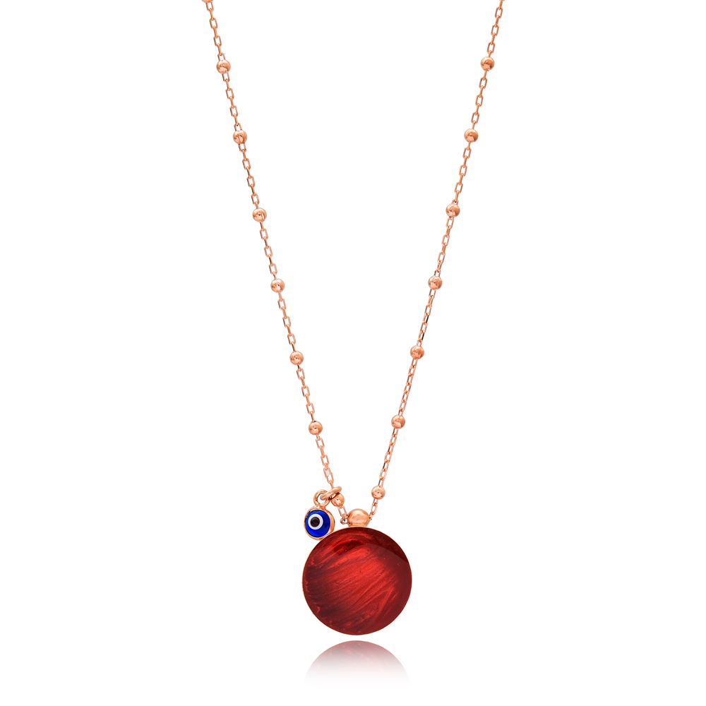 Mother of Pearl Red Enamel Round Design Necklace with Evil Eye 925 Sterling Silver Jewelry