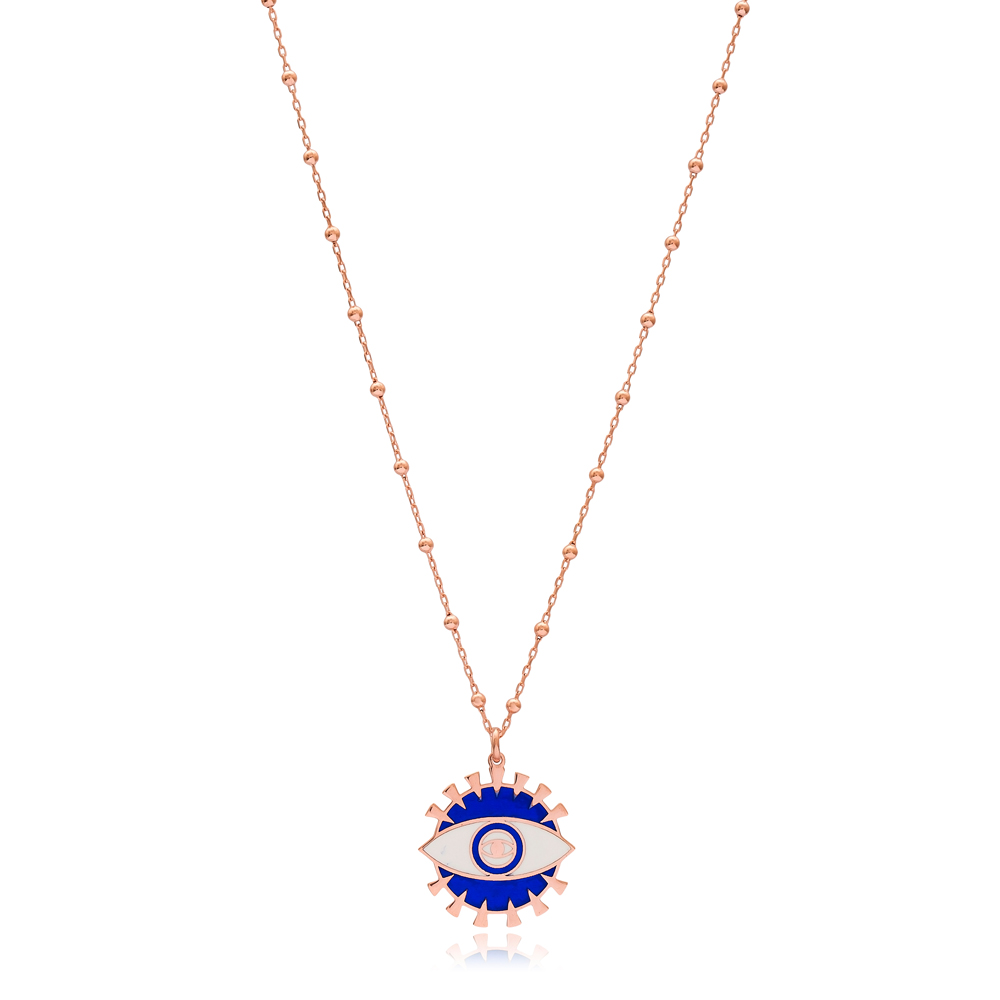 Ball Chain Evil Eye Enamel Trendy Design Necklace Turkish Wholesale 925 Sterling Silver Jewelry