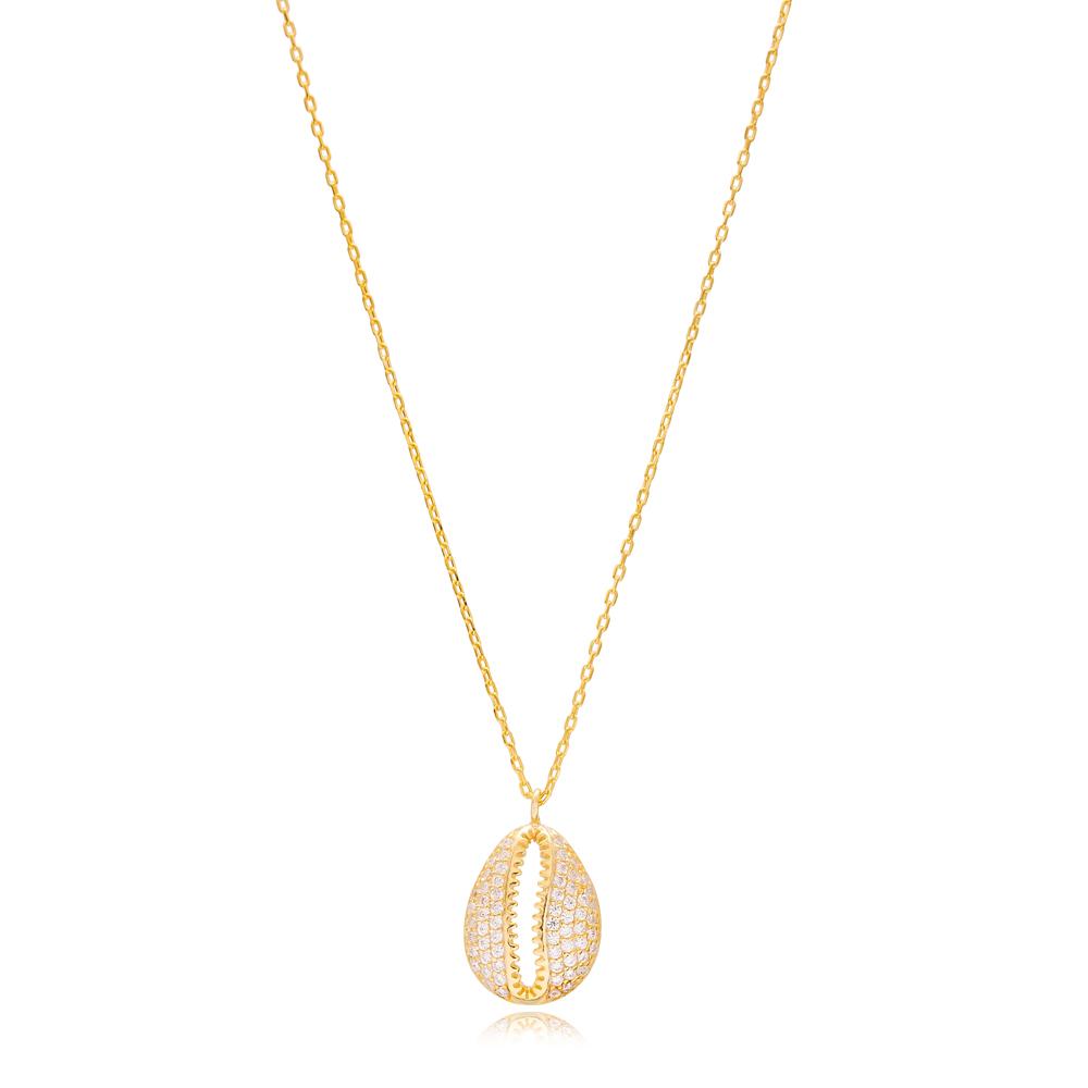 Seashell Design Zircon Stone Pendant Wholesale Turkish 925 Sterling Silver Necklace