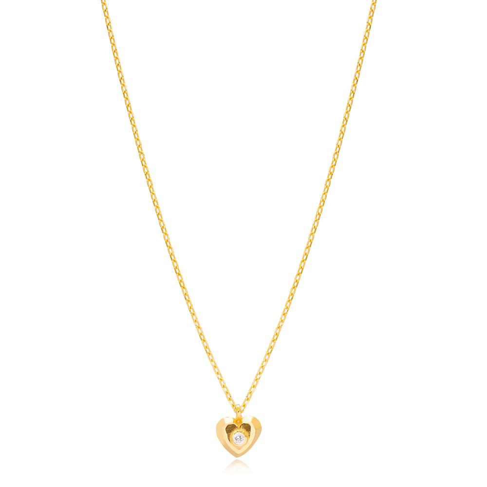 Heart Design Single Zircon Stone Pendant Wholesale Turkish 925 Sterling Silver Necklace