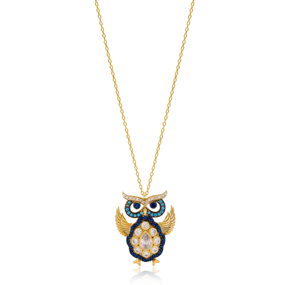 Sapphire Stone Owl Charm Turkish Wholesale 925 Sterling Silver Jewelry