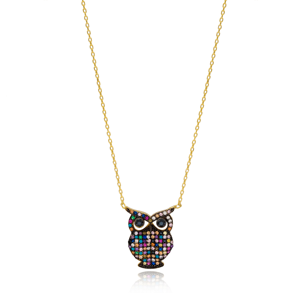 Rainbow Stone Minimalist Owl Charm Turkish Wholesale 925 Sterling Silver Jewelry