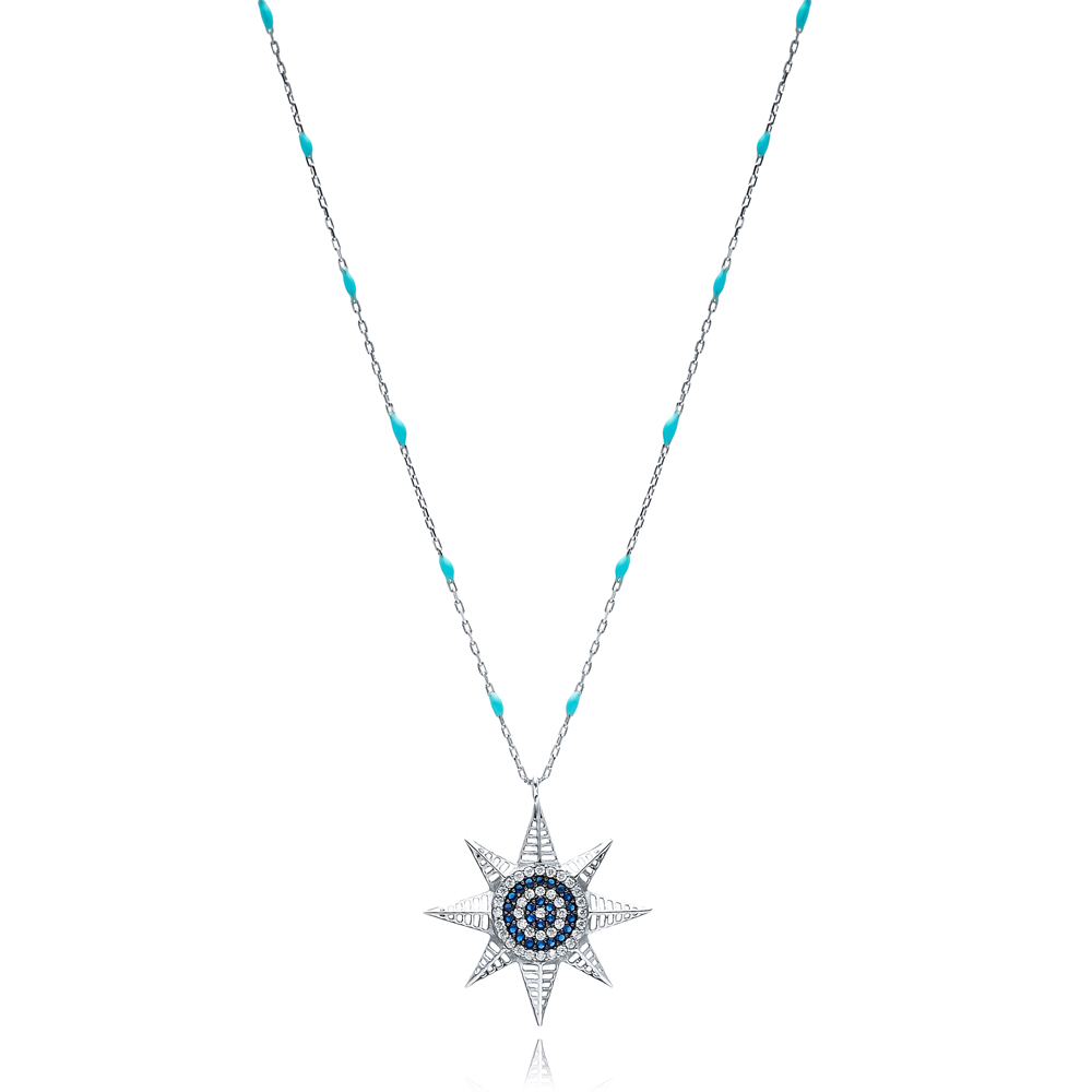 North Star Charm Blue Enamel Chain Necklace Turkish Wholesale 925 Sterling Silver Jewelry