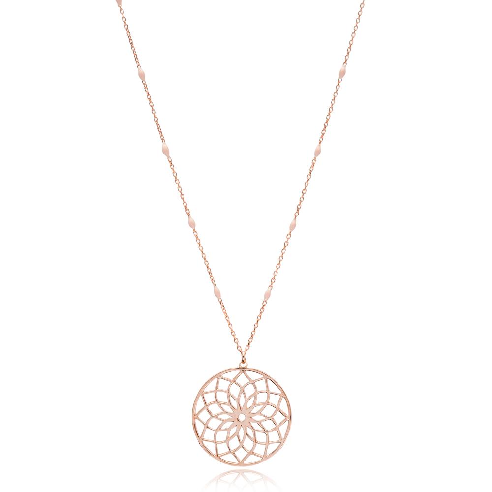 Fashionable Mandala Design Pink Enamel Chain Necklace Turkish Wholesale 925 Sterling Silver Jewelry