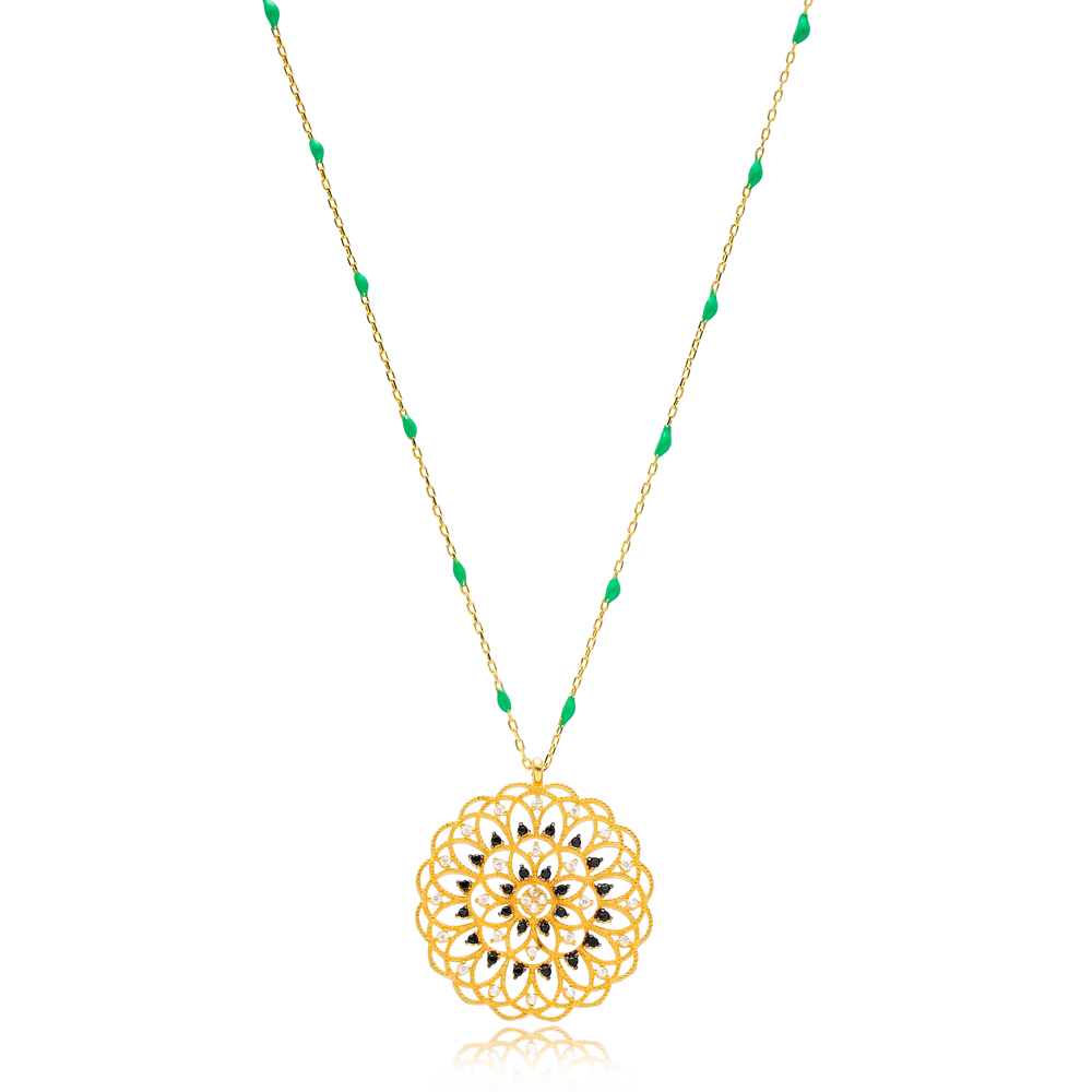 Trendy Mandala Design Green Enamel Chain Necklace Turkish Wholesale 925 Sterling Silver Jewelry