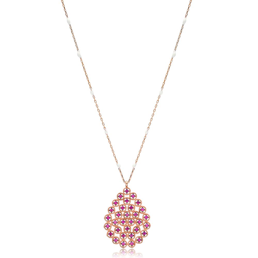Ruby Stone Teardrop Shape White Enamel Chain Necklace Turkish Wholesale 925 Sterling Silver Jewelry
