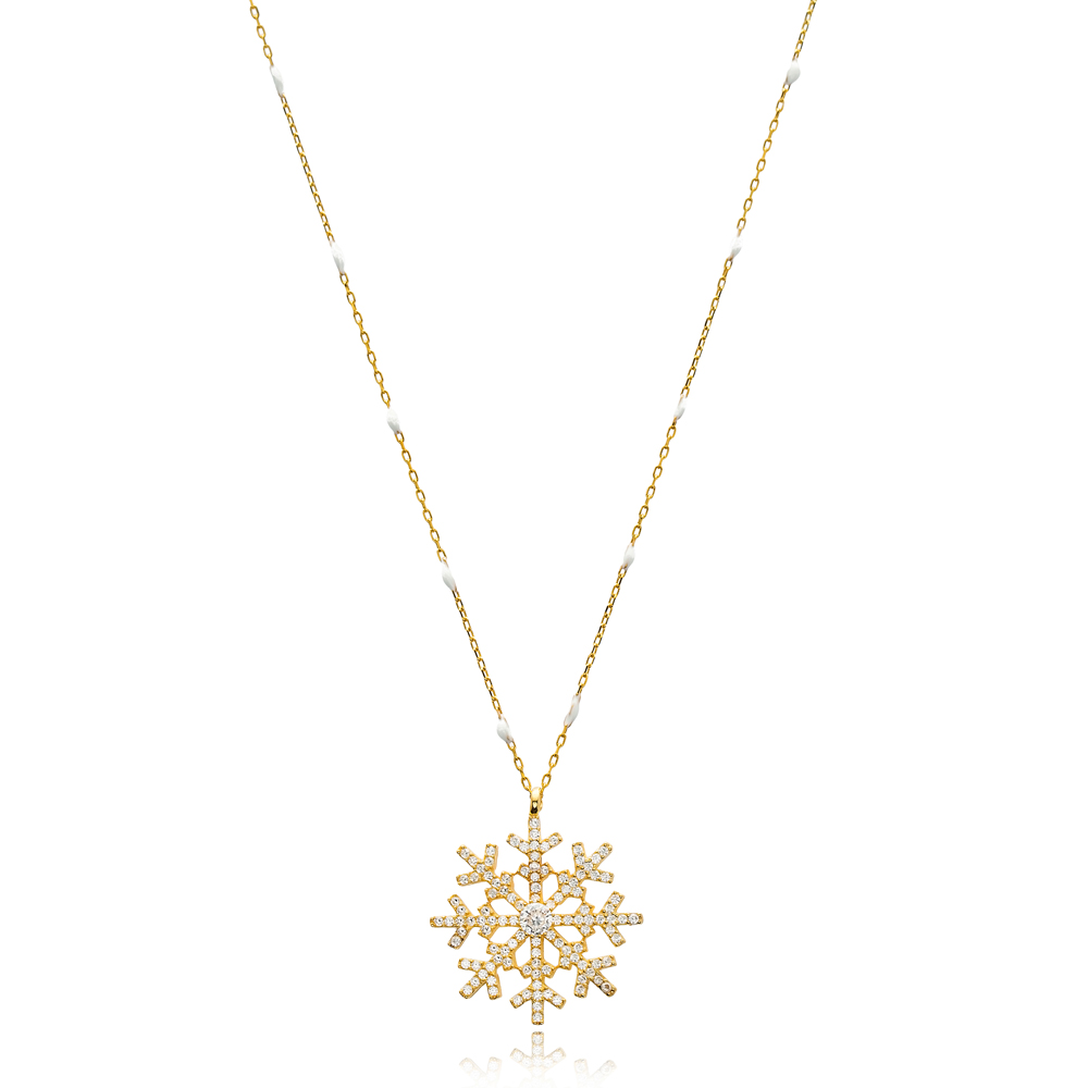 New Snowflake Design White Enamel Chain Necklace Turkish Wholesale 925 Sterling Silver Jewelry