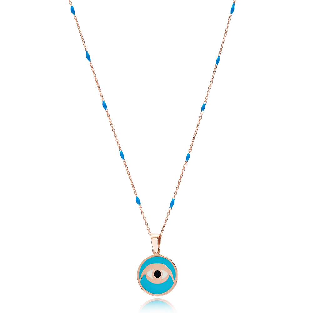 Turquoise Enamel Eye Design Blue Enamel Chain Necklace Turkish Wholesale 925 Sterling Silver Jewelry