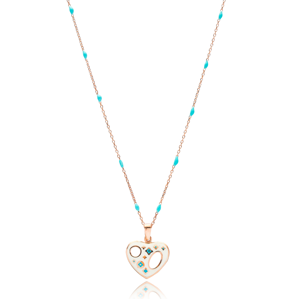Hollow Heart White Enamel Design Turquoise Enamel Chain Necklace Turkish Wholesale 925 Sterling Silver Jewelry