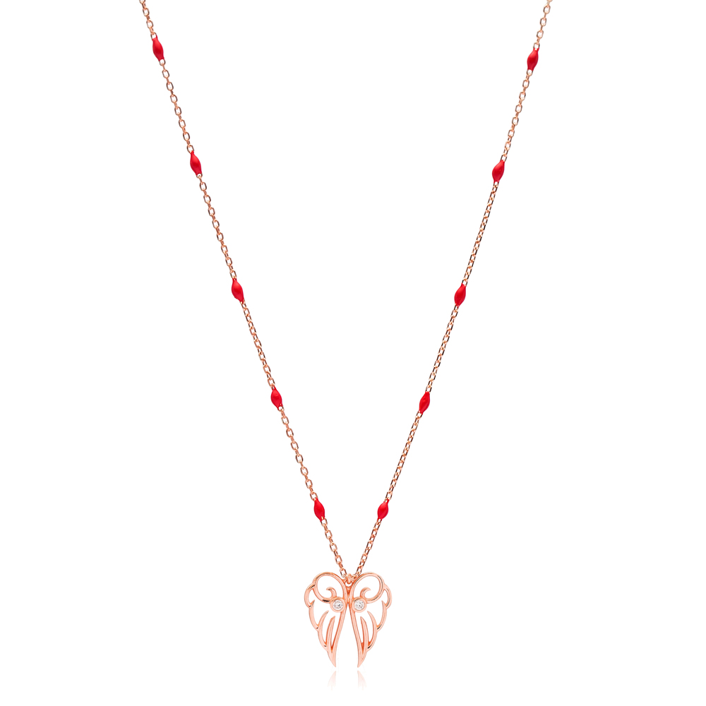 Elegant Angel Wing Design Red Enamel Chain Necklace Turkish Wholesale 925 Sterling Silver Jewelry