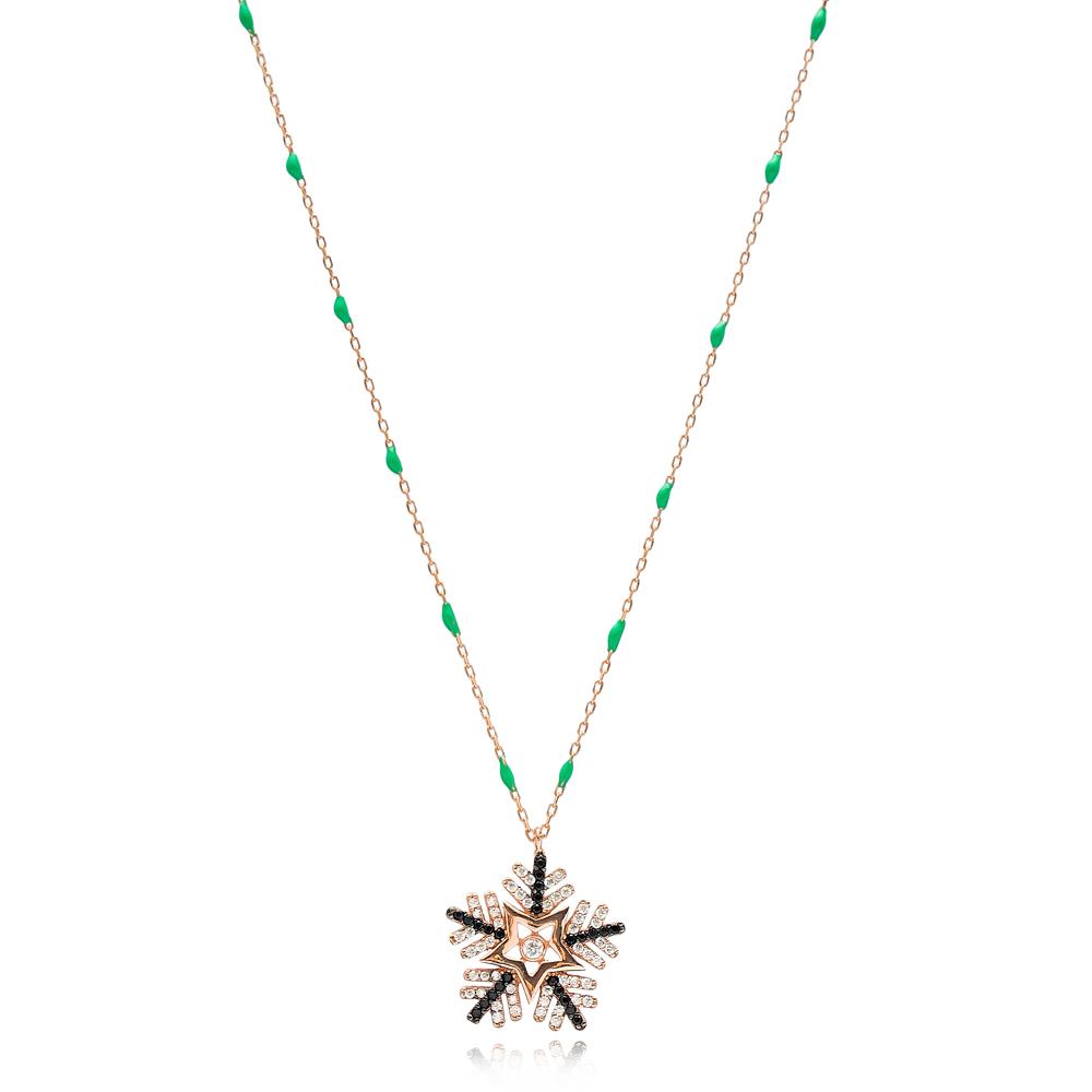 Dainty Zircon Stone Snowflake Design Green Enamel Chain Necklace Turkish Wholesale 925 Sterling Silver Jewelry